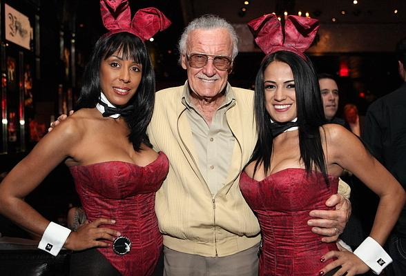 Stan Lee with Playboy Bunnies at Playboy Club