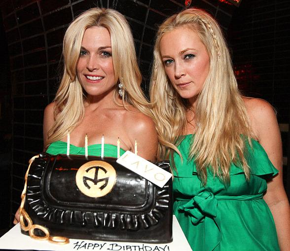 Tinsley Mortimer and Dabney Mercer with cake at LAVO