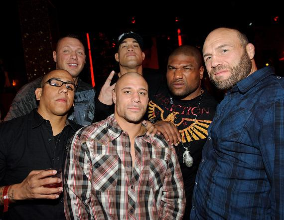 Top row: UFC Fighter Sean McCorckle, Tito Ortiz, Rampage Jackson, Randy Couture.  Bottom row: Tom Atencio and Frank trigg at TAO