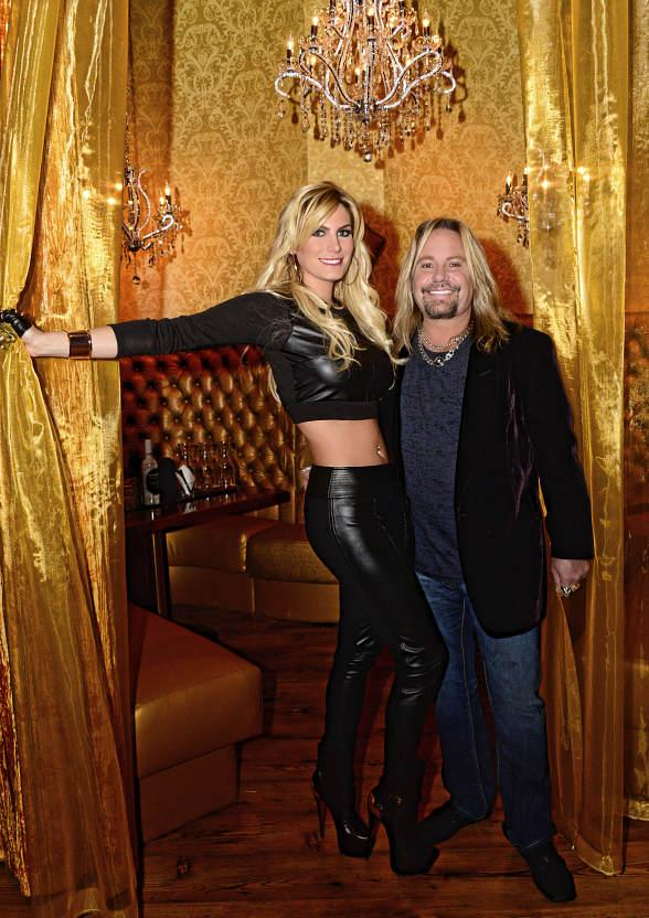 Vince Neil and Rain Andreani at opening of his new Tatuado Eat-Drink-PARTY! at Circus Circus