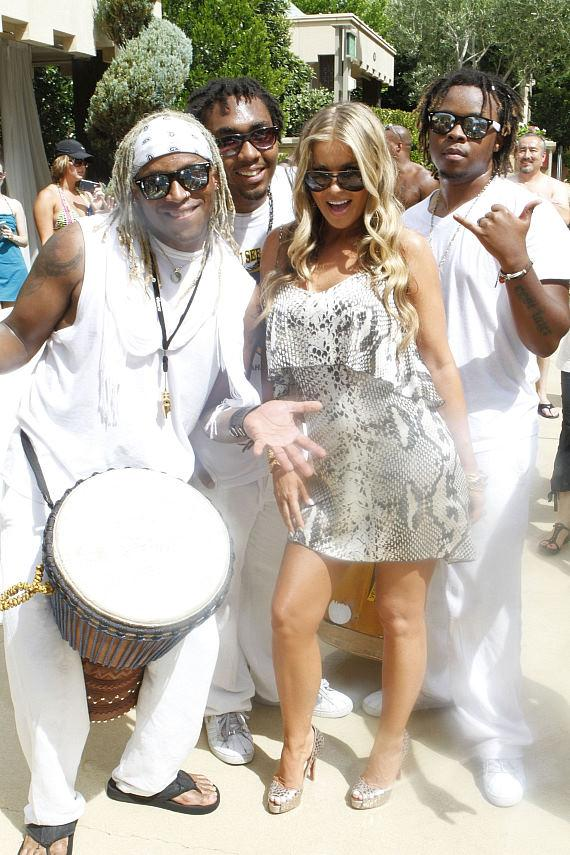 Carmen Electra with drummers at Azure Luxury Pool at The Palazzo