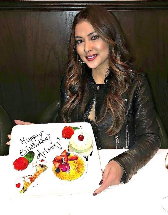UFC ring girl/model Arianny Celeste celebrates her birthday with cake at Andiamo Italian Steakhouse Las Vegas