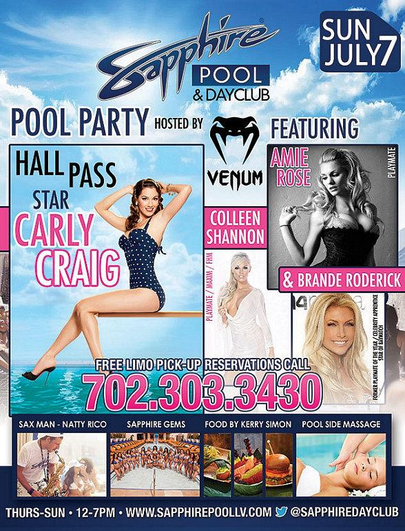 Hall Pass Star Carly Craig to Host Pool Party at Sapphire Pool & Dayclub on Sunday, July 7