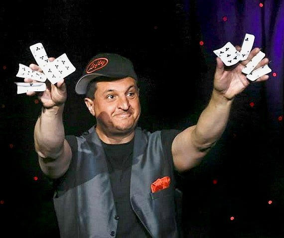 "Douglas 'Lefty' Leferovich performs in ""MURRAY Celebrity Magician"" at Planet Hollywood in Las Vegas"