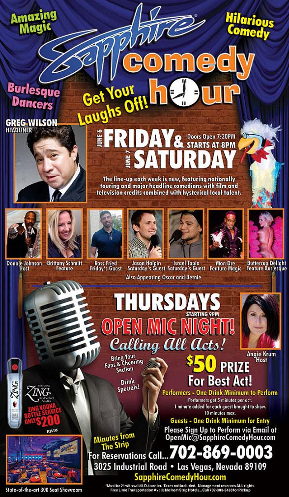 Greg Wilson to Headline Sapphire Comedy Hour at Sapphire Las Vegas on Friday, June 6 and Saturday, June 7