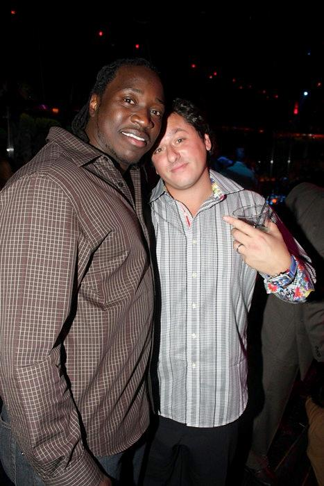 Cincinnati Bengals linebacker Abdul Hodge and friend (Photo courtesy of The Bank Nightclub)