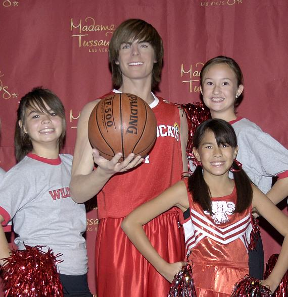 (Left to right) Cheerleaders Mariko Boblett, Andria Jose and Hailey Jones were on hand at Madame Tussauds Las Vegas to welcome the attractions newest wax figure, Zac Efron, star of Disney's High School Musical 3: Senior Year.