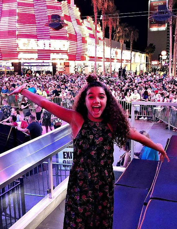 """""""Skyscraper"""" Actress McKenna Roberts at Fremont Street Experience and the D Casino Hotel in Las Vegas"""