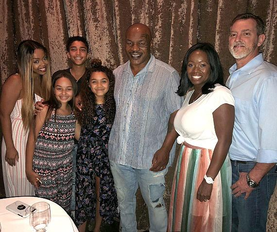 """""""Skyscraper"""" Actress McKenna Roberts and her family with Former Undisputed Heavyweight Boxing Champion Mike Tyson at Andiamo Italian Steakhouse Las Vegas"""