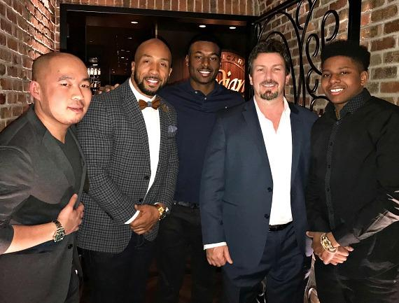 MILB Kyle Lewis and Anthony Ray with Richard Wilk, AJ Jenkins and He Ming Huang inside Andiamo Italian Steakhouse Las Vegas