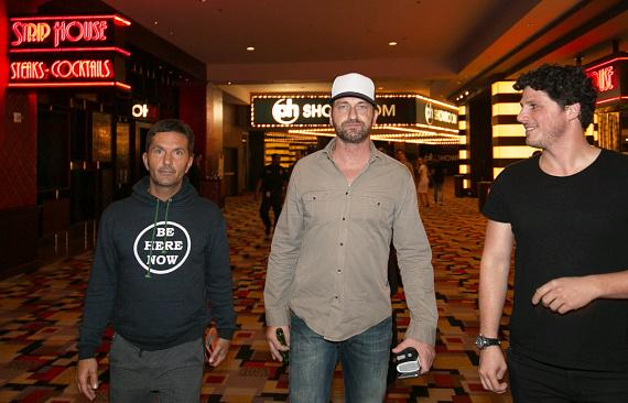 """Actor Gerard Butler with friends at Opening Weekend of his film """"London Has Fallen"""" at Planet Hollywood"""