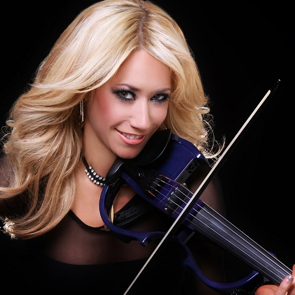 Violinist Lydia Ansel performs with Rod Stewart's band at The Colosseum at Caesars Palace, She's also a featured violinist with Bella Electric Strings