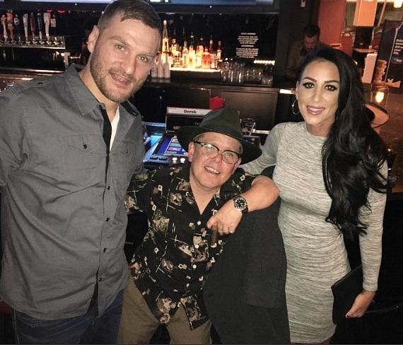"""""""Pit Boss"""" star Shorty Rossi (c) with UFC Heavyweight Stipe Miocic and fiance Ryan Marie Carney at The Longbar in the D Las Vegas"""
