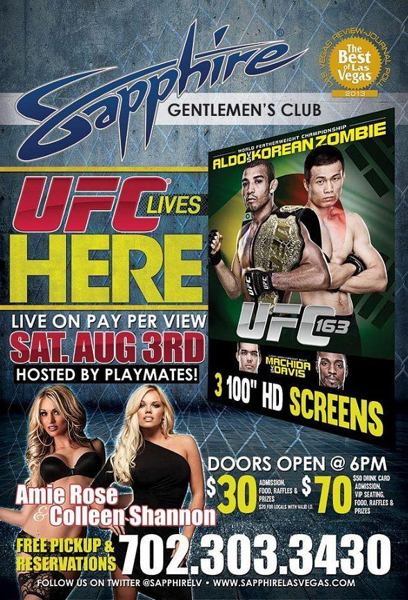 Sapphire Gentlemen's Club to Host UFC 163 Viewing Party Saturday, August 3