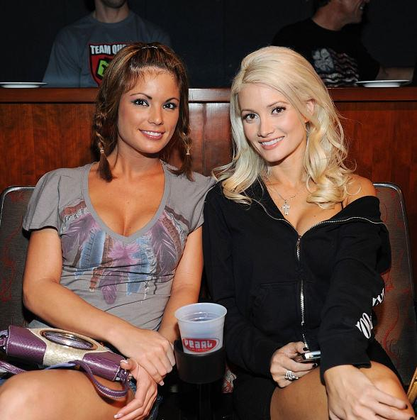Holly Madison (right) and friend at UFC finals