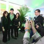 Vanilla Ice poses for pictures with guests at Scripps Networks Interactive Pavilion at 2014 CES in Las Vegas
