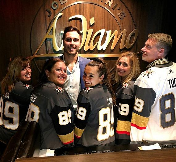 Vegas Golden Knight Alex Tuch with family at Andiamo Italian Steakhouse inside the D Las Vegas