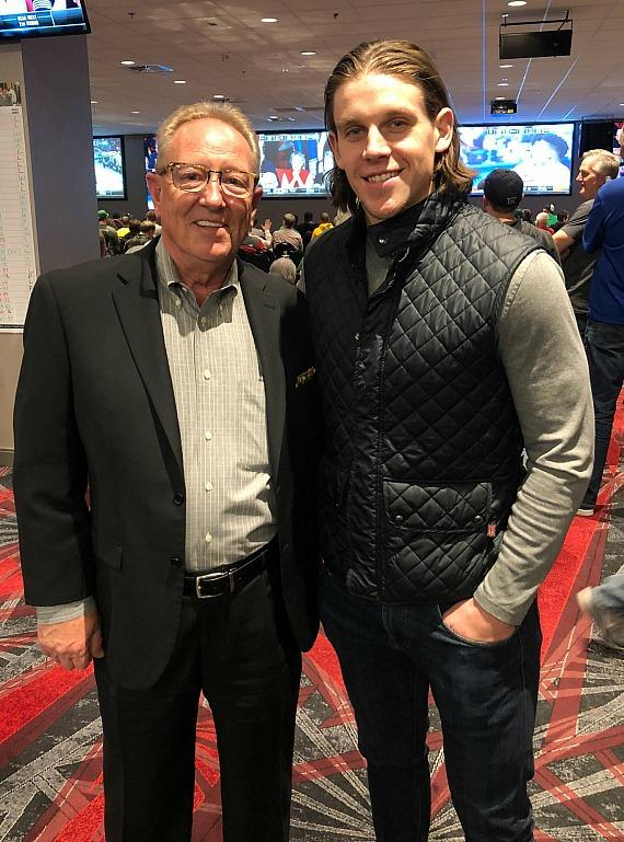 David Tuttle, COO of the D Casino Hotel with Vegas Golden Knights player Erik Haula