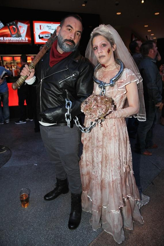 """Walking Dead """"Negan"""" and Zombie at the D Casino Hotel on Halloween 2016 in Las Vegas"""