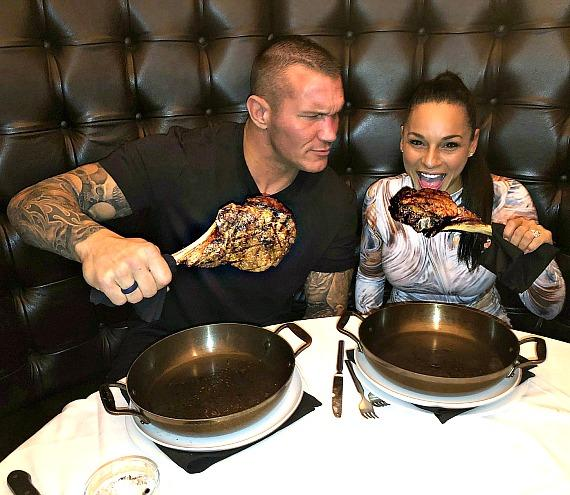 WWE Superstar Randy Orton and wife Kim eat 32oz Tomahawk Steaks at Andiamo Italian Steakhouse Las Vegas