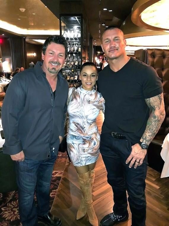 WWE Randy Orton and wife Kim with the D Executive Richard Wilk at Andiamo Las Vegas