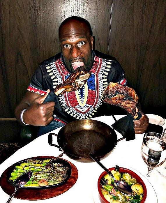 WWE star Titus O'Neil at Andiamo Italian Steakhouse in the D Casino Hotel