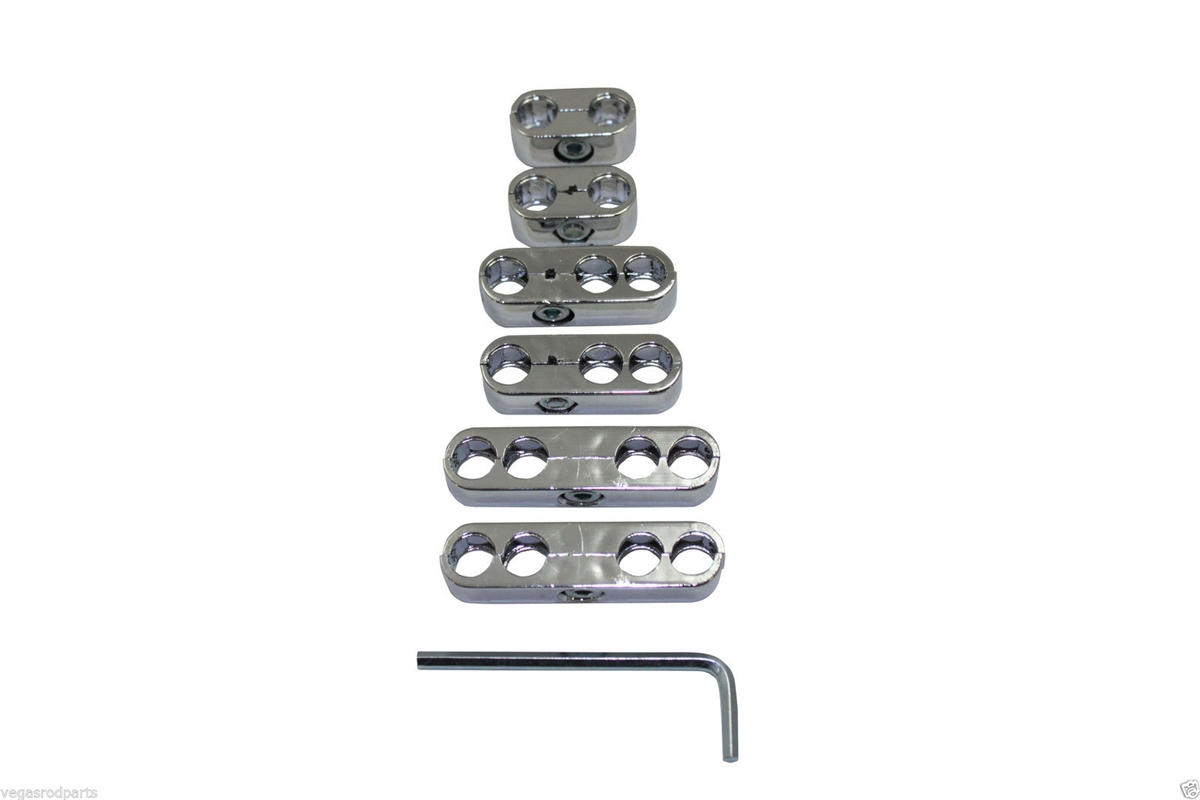 Universal Chrome Spark Plug Wire Loom Dividers