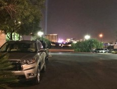In the distance, the golden building is the Mandalay Bay, venue of the shooting.