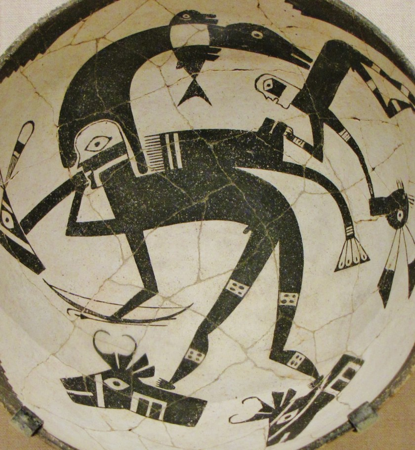 Bowl Depicting a Hero-Hunter with a Heron Headdress, Bow, and Arrows, along with a Rabbit Hunter; ceramic and pigment (Classic Mimbres Black-on-white); Mimbres branch of the Mogollon; New Mexico, United States