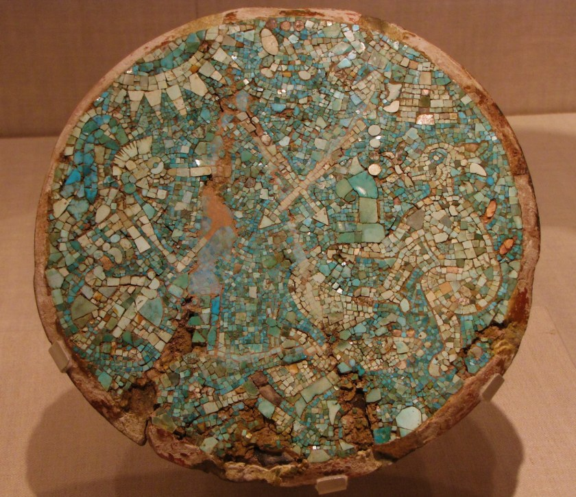 Mosaic Disk with a Mythological and Historical Scene, turquoise, shell, and sandstone, 1400/1500 CE, Mixtec; Northern Oaxaca, Mexico