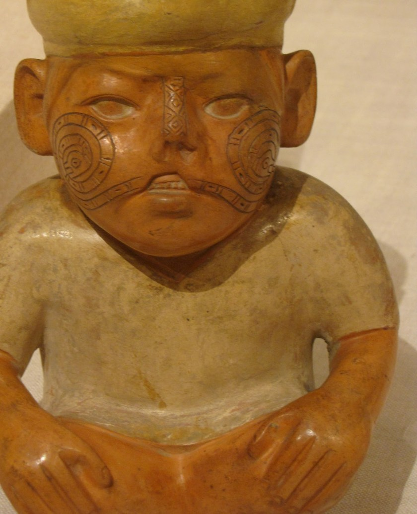Portrait Vessel of a Man with a Cleft Lip and Tattoos, ceramic and pigment, 100 BCE/500 CE, Moche; North coast, Peru