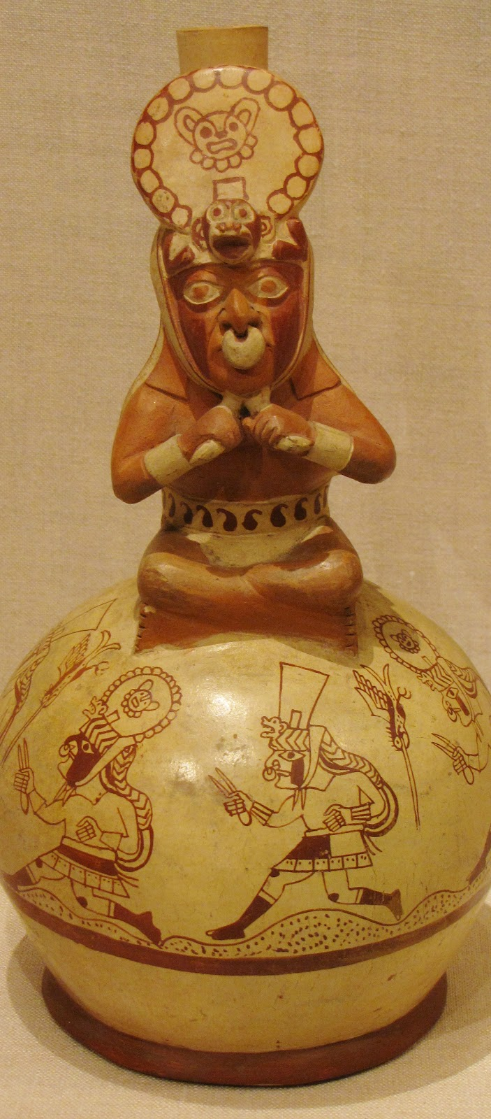Vessel in the Form of a Royal Messenger, ceramic and pigment, 100 BCE/500 CE, Moche; North coast, Peru