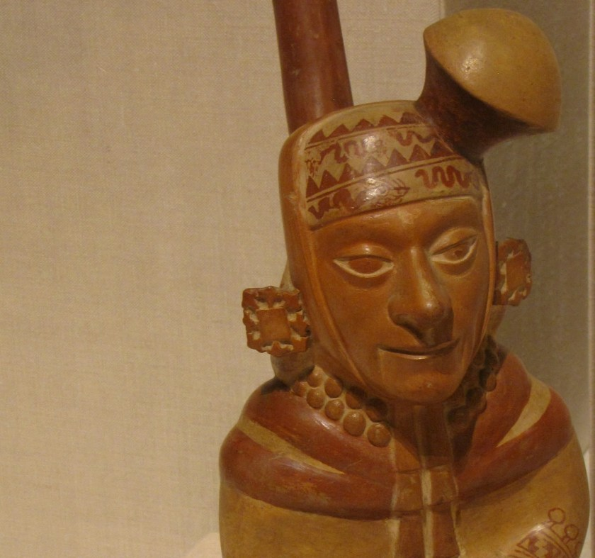 Vessel in the Form of a Courtly Musician, ceramic and pigment, 100 BCE/500 CE, Moche; North coast, Peru