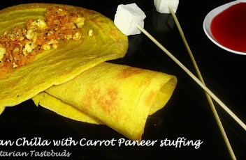 Besan chilla with carrot paneer stuffing