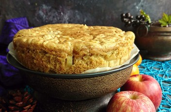 Eggless Wheat Apple Cake recipe by www.vegetariantastebuds.com