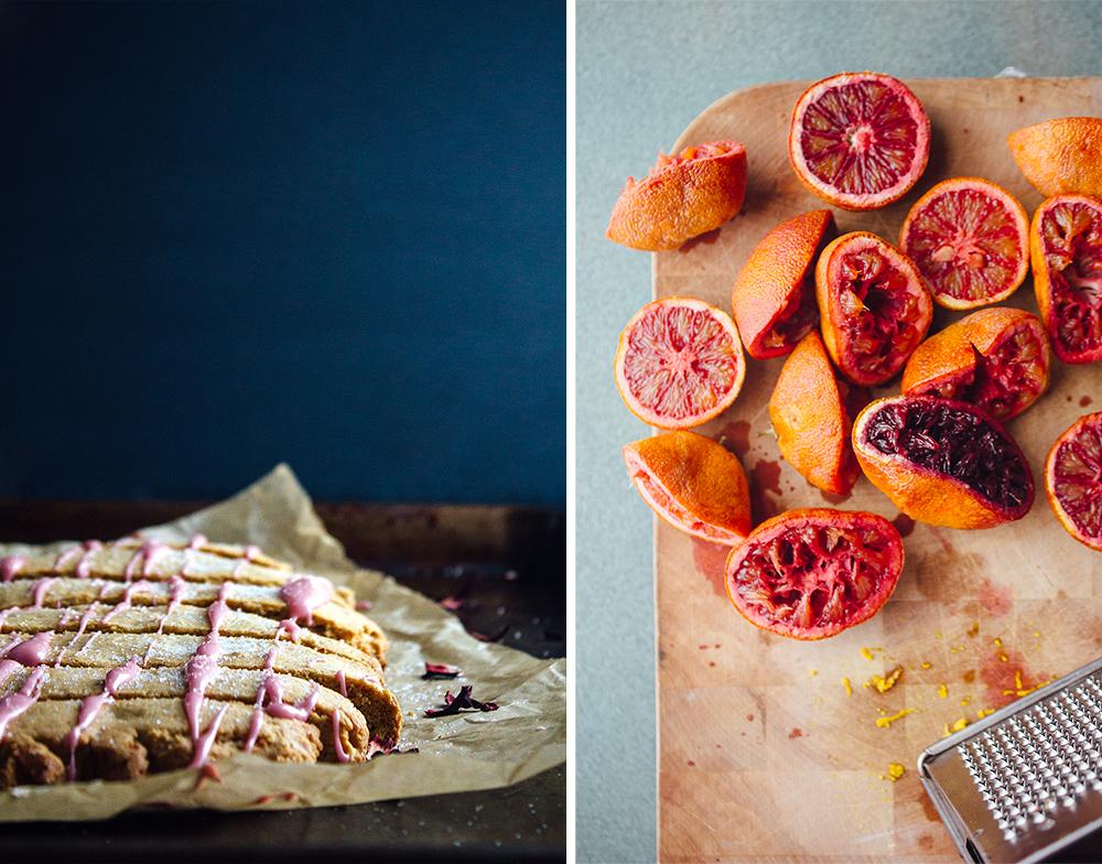 Citrus Biscotti with Hibiscus Glaze