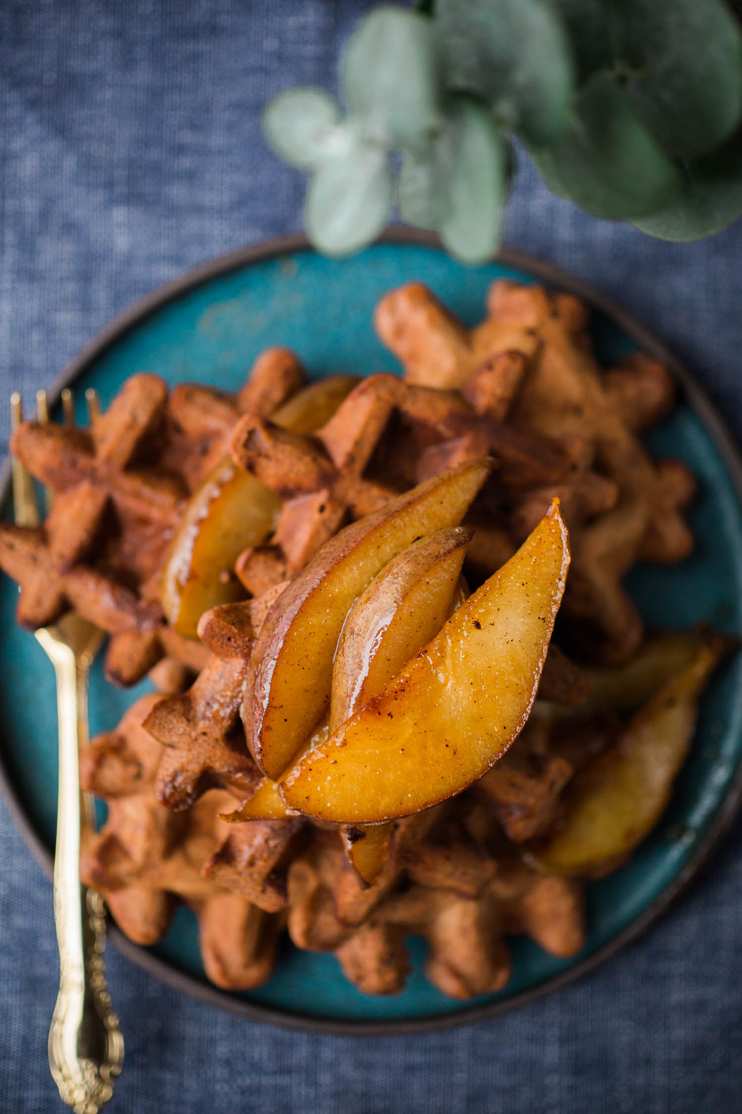 Vegan Cocoa Waffles With Caramelized Pears