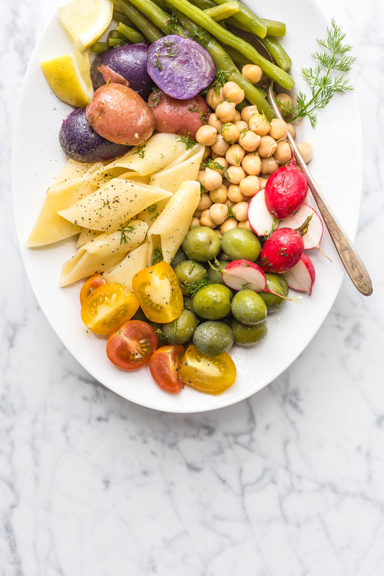 Vegetarian Summer Pasta Salad with Dill Vinaigrette