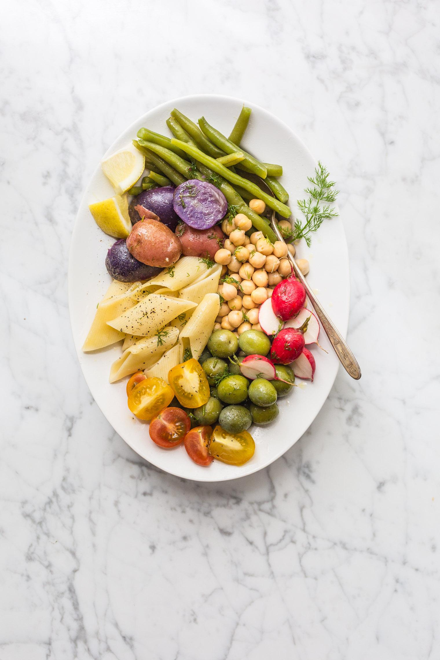 Vegetarian Summer Pasta Salad with Dill Vinaigrette