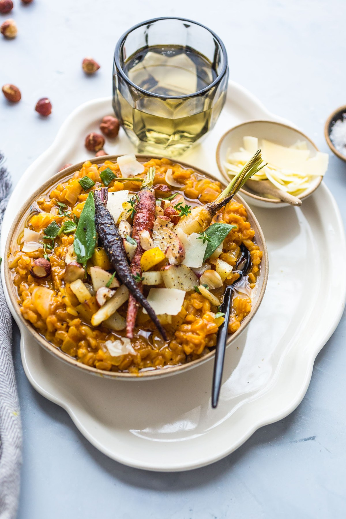 Pumpkin Farro Risotto with Roasted Winter Vegetables