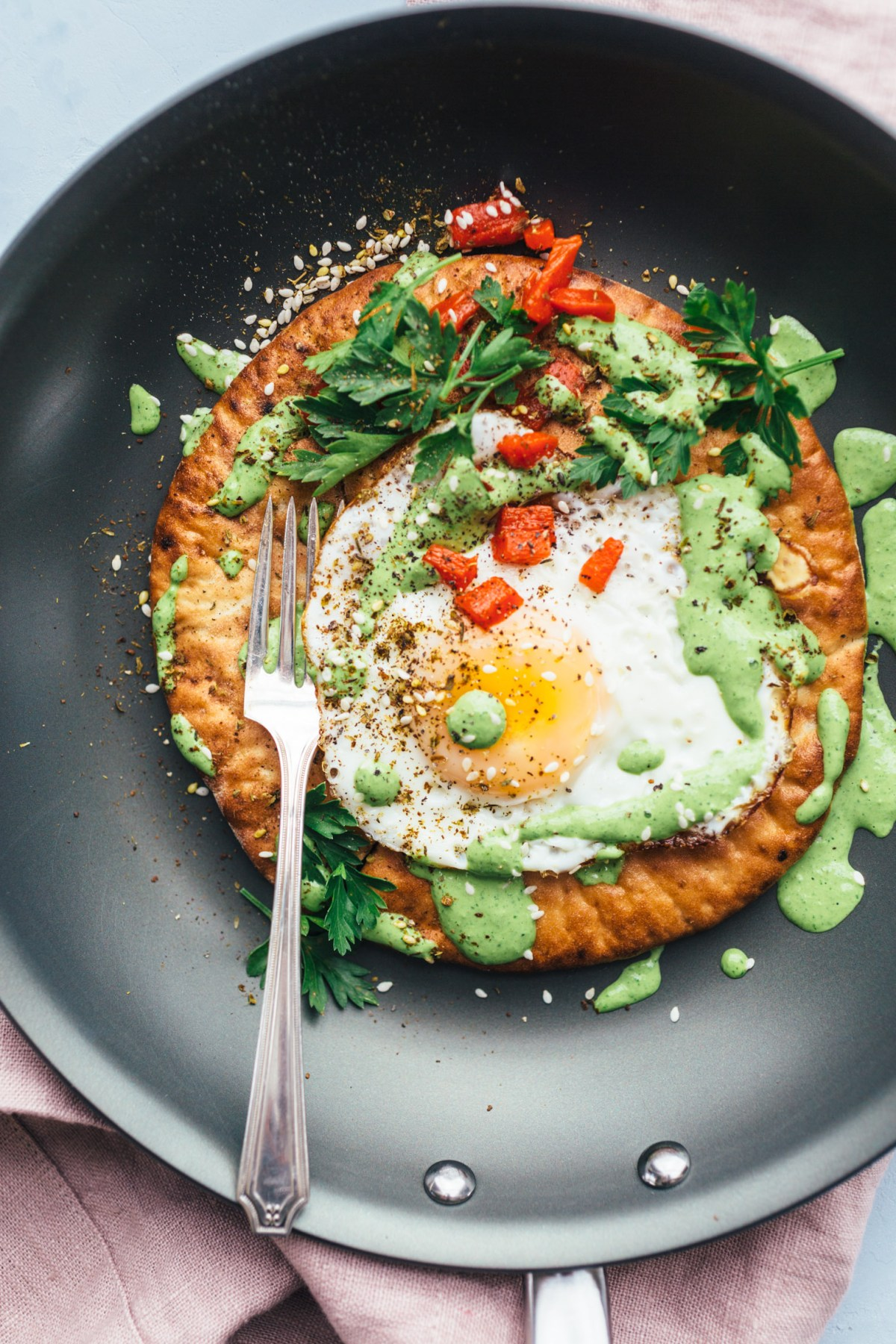 Fried Eggs with Green Tahini and Pita