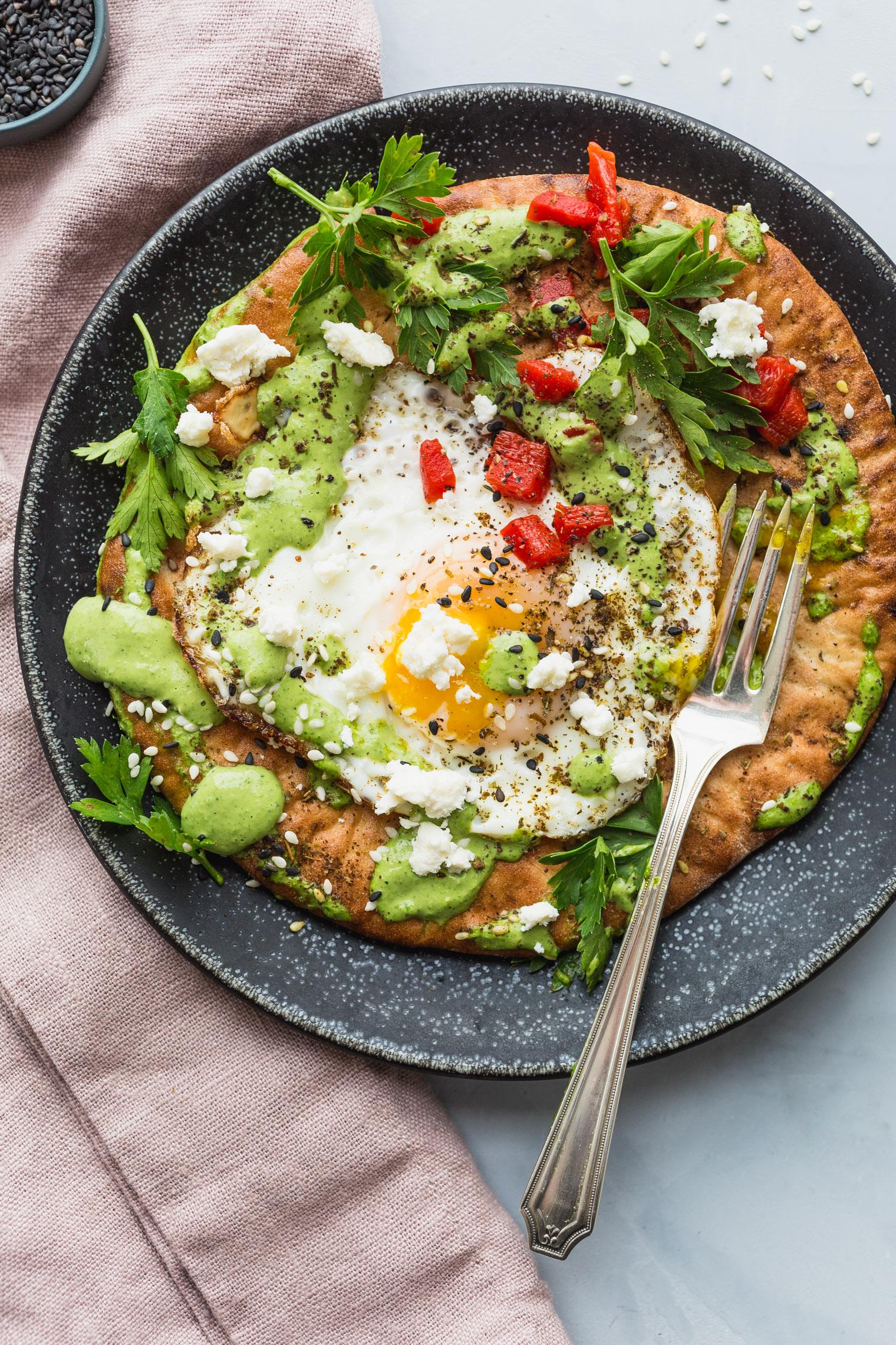 Fried Eggs with Green Tahini and Pita