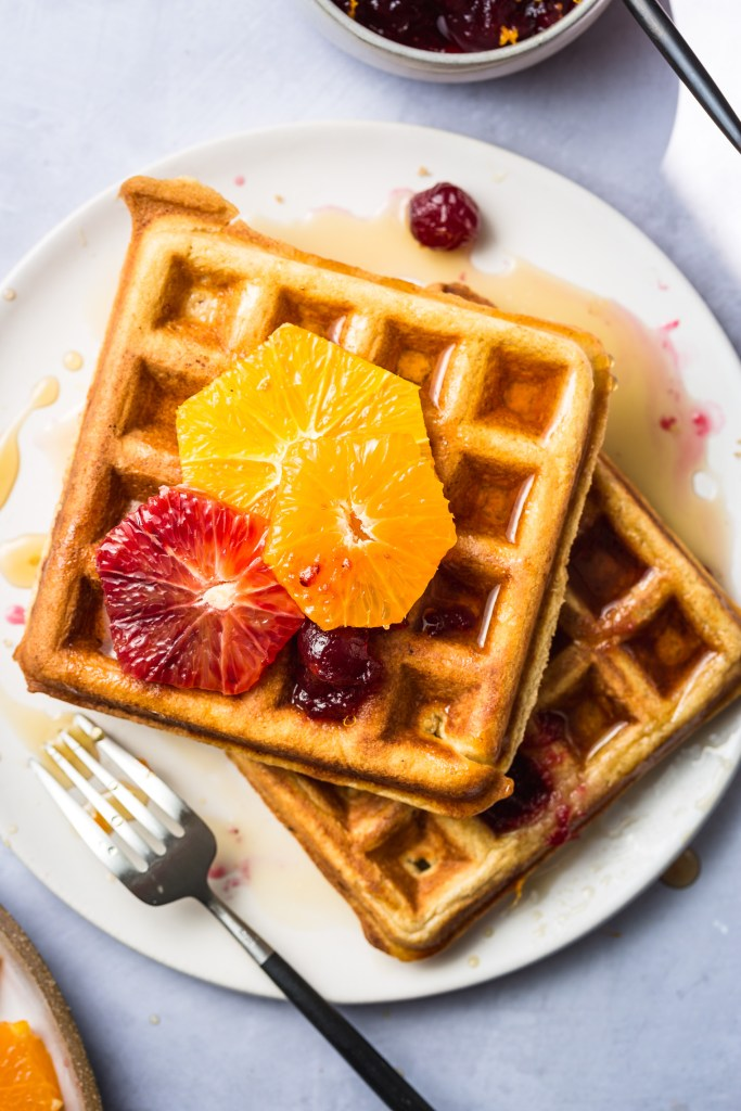Brown Sugar Waffles with Orange-Ginger Cranberry Compote