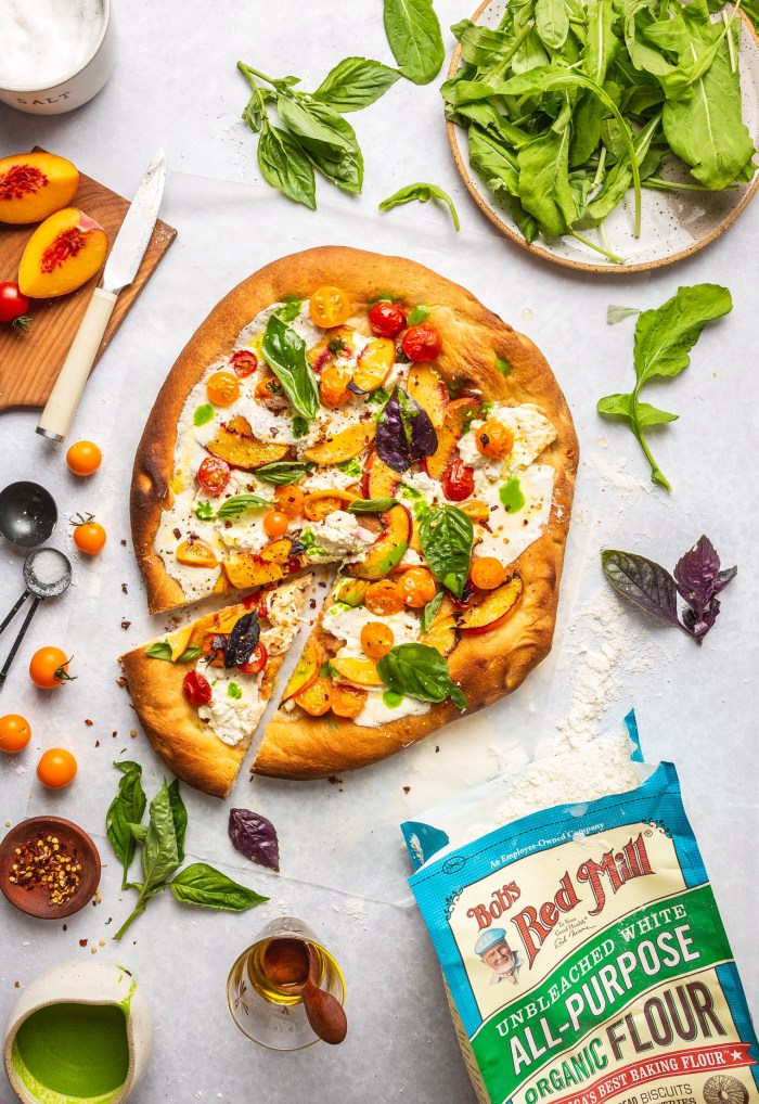 Peach Burrata Tomato Pizza