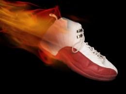 shoe on fire
