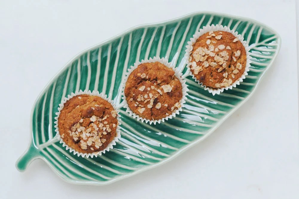 muffins on a leaf tray