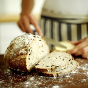 bread being cut