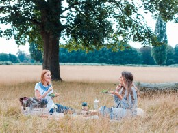 two women picnicing