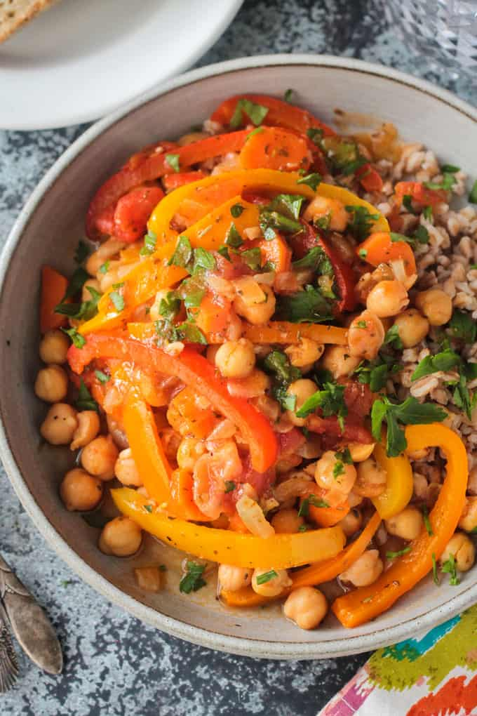 Up close overhead view of a bowl of Italian Peppers and Chickpeas