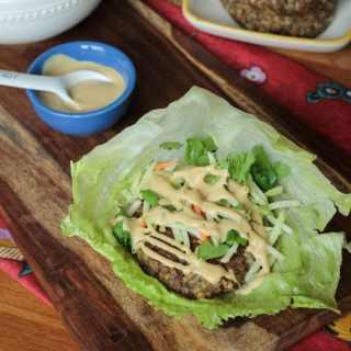 Asian Lentil Burger Lettuce Wraps